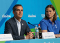 Aug 9, 2016; Rio de Janeiro, Brazil;  Los Angeles mayor Eric Garcetti and Angela Ruggiero during a LA2024 Los Angeles bid press conference during the Rio 2016 Summer Olympic Games at Olympic Gold Course. Mandatory Credit: Jerry Lai-USA TODAY Sports